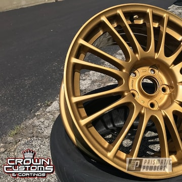 Subaru Sti Wheels Refinished In Spanish Gold With Clear Vision Top Coat