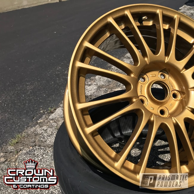 Powder Coating: Wheels,Automotive,Clear Vision PPS-2974,STI,Subaru STI Wheels,Spanish Gold EMS-0940