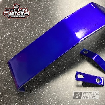 Mitsubishi Evo Scattered Shield Refinished In Super Chrome Base & Intense Blue Top Coat