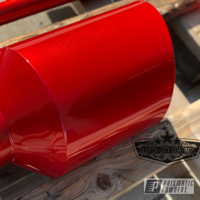 Powder Coating: Automotive,Clear Vision PPS-2974,Exhaust Tip,Exhaust,Illusion Red PMS-4515