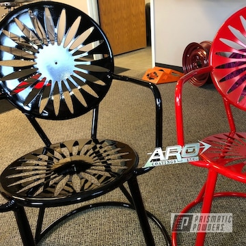 Powder Coated Outdoor Chairs In Ink Black And Really Red