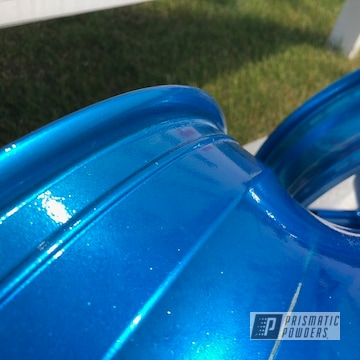 Motorcycle Rims Powder Coated In Aurora Blue And Super Chrome