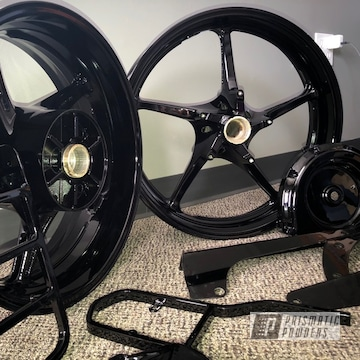 Powder Coated Motorcycle Rims In Ink Black