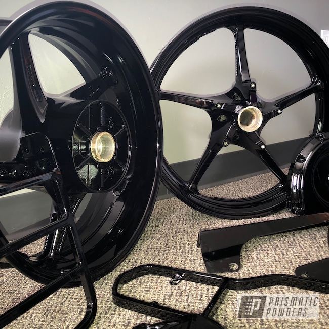 Powder Coating: Wheels,Rims,Ink Black PSS-0106,Motorcycles