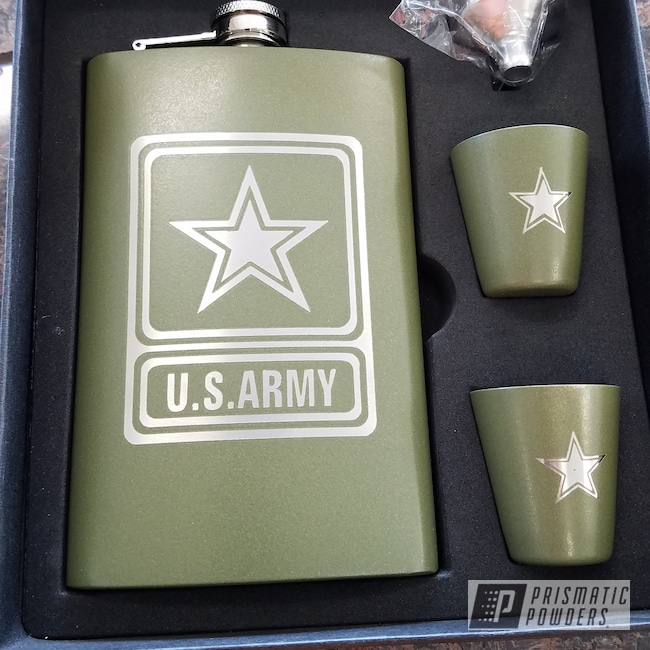Powder Coating: Drinkware,Flask Set,US Army,Army Green PSB-4944