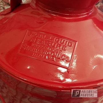 Vintage Oil Cans Powder Coated In Ral 3002 A Classic Carmine Red Color