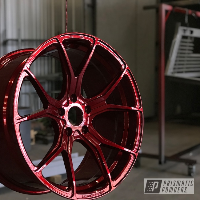 Powder Coating: Wheels,Automotive,Super Chrome USS-4482,BMW,20inch,Lollypop Red UPS-1506