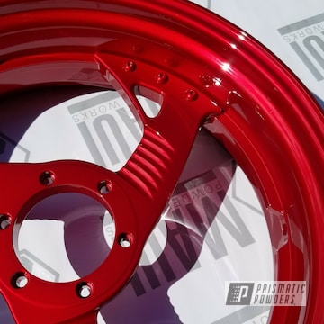 Harley Davidson Parts In A Lollypop Red Powder Coat
