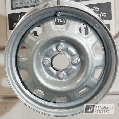 Powder Coating: Wheels,Automotive,Star Gaze PPB-4522,Clear Vision PPS-2974,Alien Silver PMS-2569