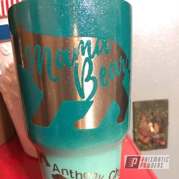 Powder Coated Tumbler Cup In A Teal Gradient Color