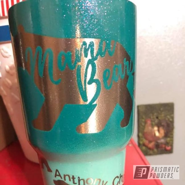 Powder Coating: Clear Vision PPS-2974,Drinkware,Miami Teal PSB-6532,Chameleon Sapphire Teal PPB-5732,Custom Tumbler Cup,RAL 6027 RAL-6027