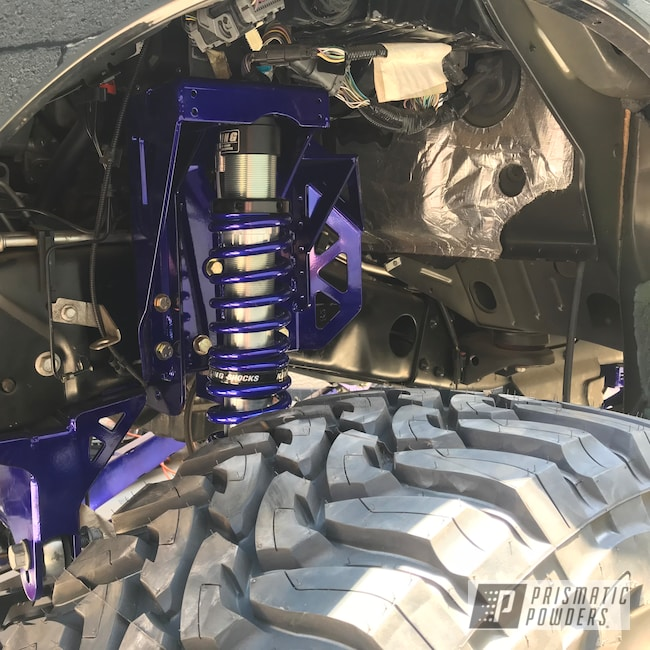 Powder Coating: Automotive,#f250,#f350,Ink Black PSS-0106,#powerstroke,#liftedtruck,f250,Suspension,SUPER CHROME USS-4482,Lift,PMF,SEMA,Intense Blue PPB-4474,Ford