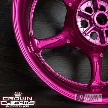 Motorcycle Wheel Refinished In Illusion Pink And Clear Vision