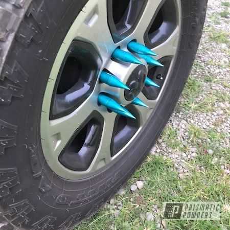 Powder Coating: Automotive,Clear Vision PPS-2974,JAMAICAN TEAL UPB-2043,Dodge,Spikes,lug nuts,2500