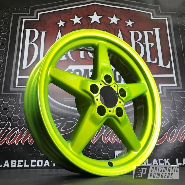 Powder Coating: Wheels,Automotive,Custom Wheels,Glowing Yellow PPB-4759,Alien Silver PMS-2569