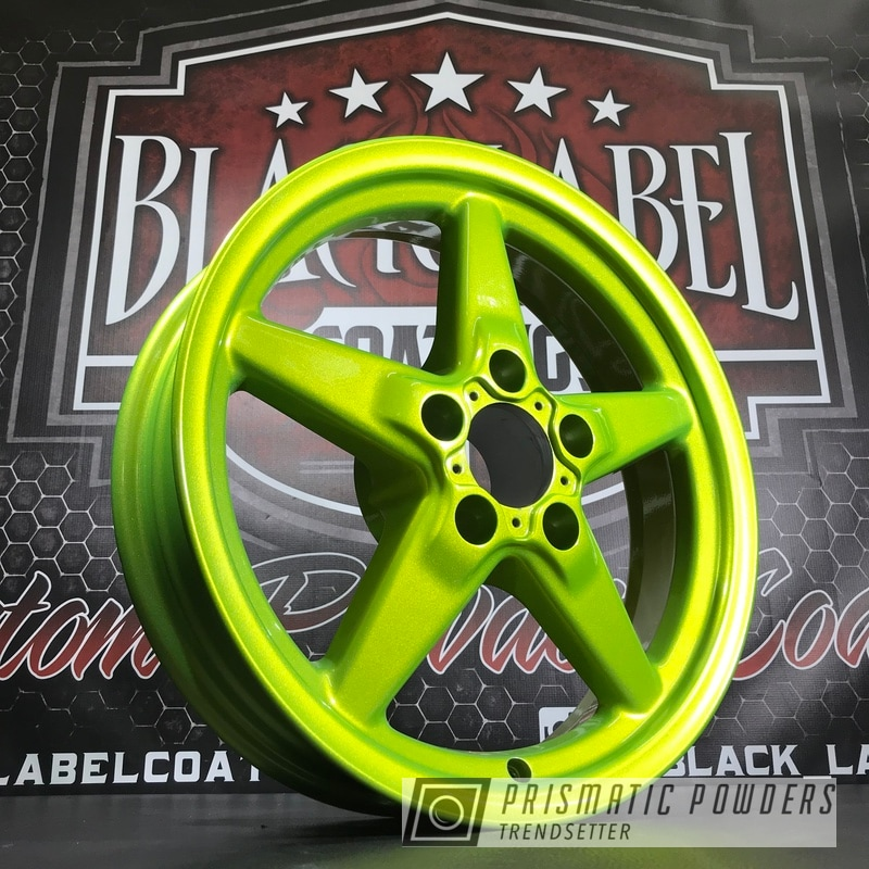 Powder Coating: Wheels,Automotive,Custom Wheels,Glowing Yellow PPB-4759,Alien Silver PMS-2569