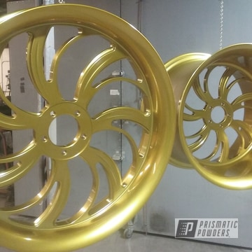 Refinished 36 Mm Wheels Powder Coated Rims In Clear Vision And Illusion Gold