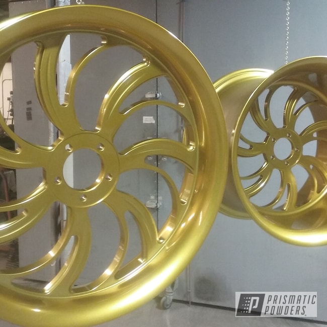 Powder Coating: Wheels,360MM,Illusion Gold PMB-10045,Clear Vision PPS-2974,Custom Powder Coated Rims,GSXR