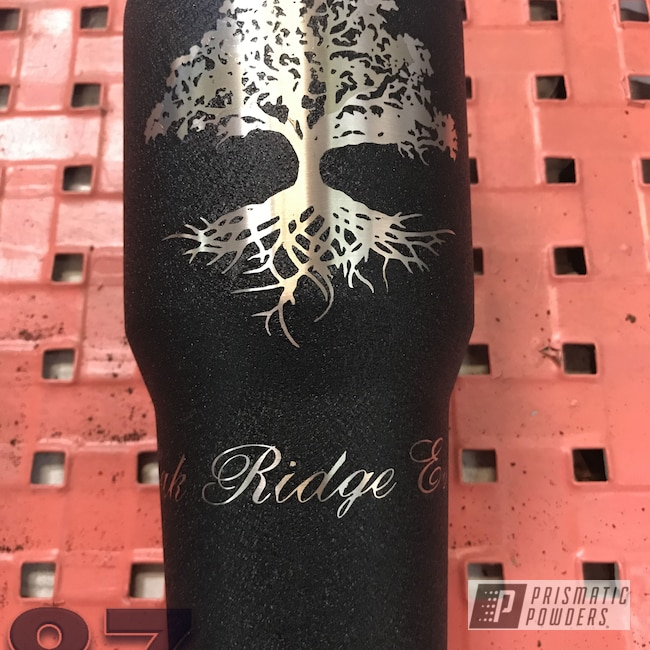 Powder Coating: Splatter Black PWS-4344,Textured Finish,Custom Tumbler Cup,Textured