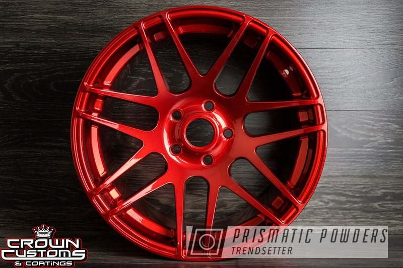 Powder Coated Forgestar F14 Wheels Refinished In A Chrome Base With A Red And Blue Top Coat