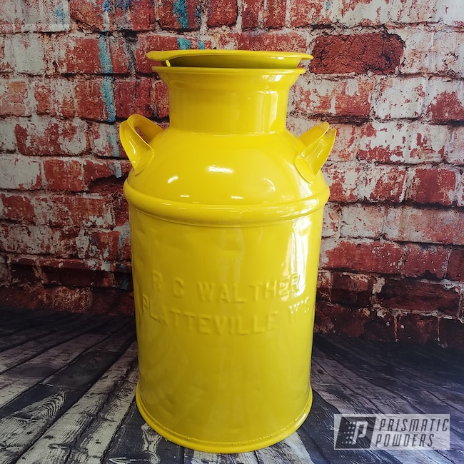 Powder Coating: Vintage Cream Can,Antiques,RAL 1018 Zinc Yellow,Miscellaneous
