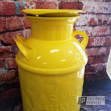 Powder Coated Vintage Cream Can In Ral 1018 Classic Zinc Yellow