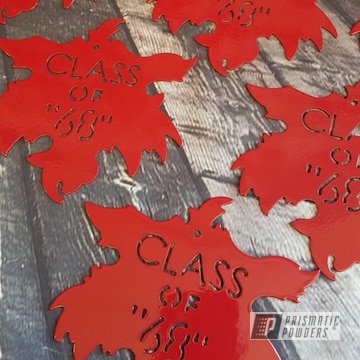 Custom Maple Leaf Metal Cut Outs Powder Coated In Ral 3002 A Carmine Red