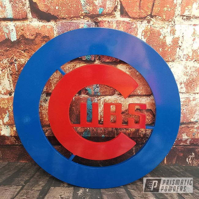 Powder Coating: Metal Art,Baseball,RAL 3002 RAL-3002,Chicago Cubs,RAL 5005 RAL-5005,Custom Sign,MLB Baseball Theme