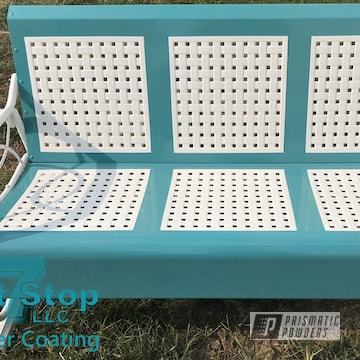 Powder Coated Patio Furniture In Polar White And Sea Foam Green