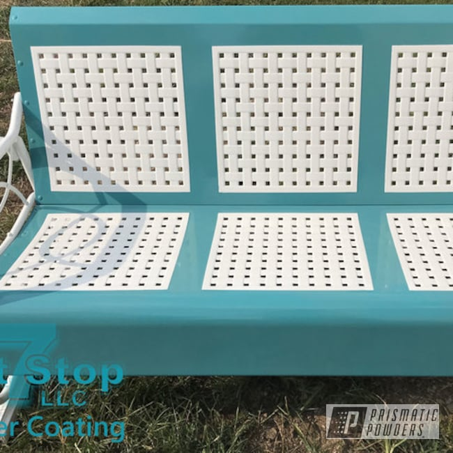 Powder Coating: Antique,Sea Foam Green PSS-4063,Patio Furniture,Custom Patio Furniture,Glider,Polar White PSS-5053,Two Tone,Outdoor Patio Furniture,Bunting
