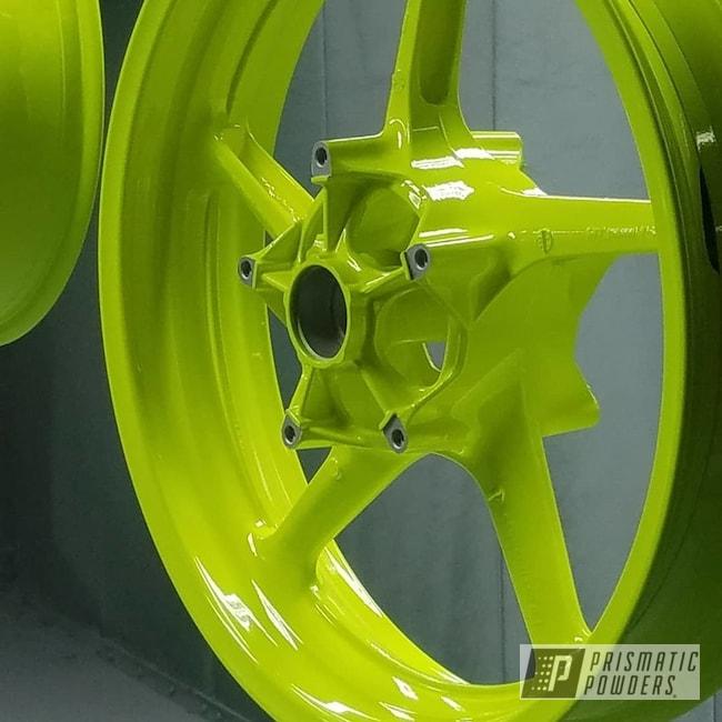 Powder Coating: Wheels,Custom Powder Coated Rims,Yamaha,Neon Yellow PSS-1104,Motorcycle Wheels,Motorcycles