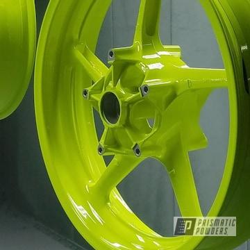 Powder Coated Yamaha Motorcycle Rims In Neon Yellow