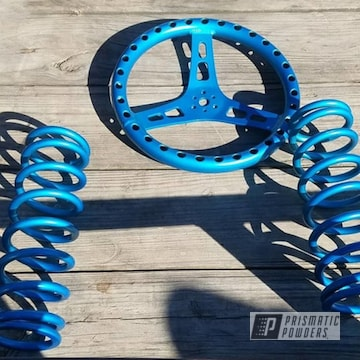Suspension Springs And Steering Wheel Powder Coated In Anodized Blue