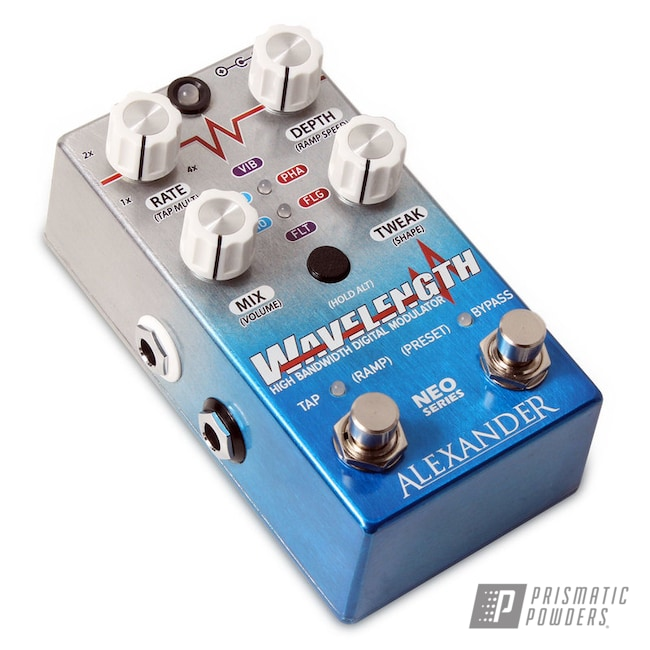 Powder Coating: Guitar Pedal,Clear Vision PPS-2974,Peeka Blue PPS-4351,Enclosure,Guitar Effect,Alexander Pedals,Wavelength