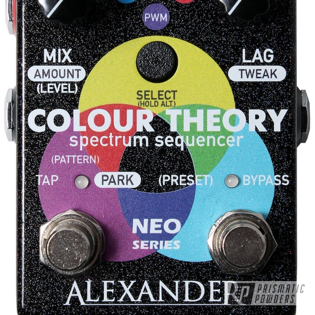Powder Coating: Guitar Pedal,Colour Theory,effect pedal,Enclosure,Guitar Effect,Alexander Pedals,Rainbow's End PMB-2691