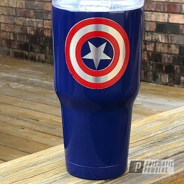 Powder Coated Captain America Themed Tumbler Cup