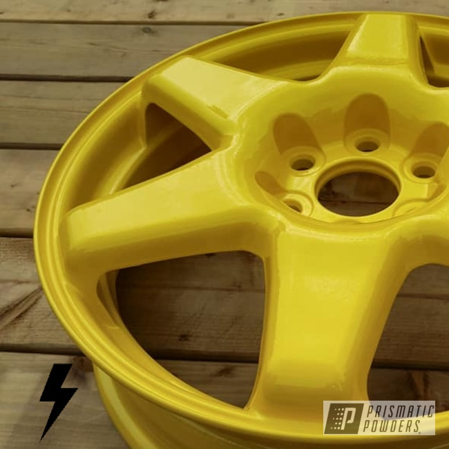 Powder Coating: Wheels,Automotive,Clear Vision PPS-2974,Sample,Hot Yellow PSS-1623,Cadillac,18inch