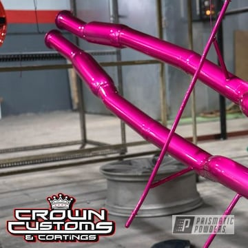 Powder Coated Pink Cadillac Cts V Coupe Exhaust Pipes