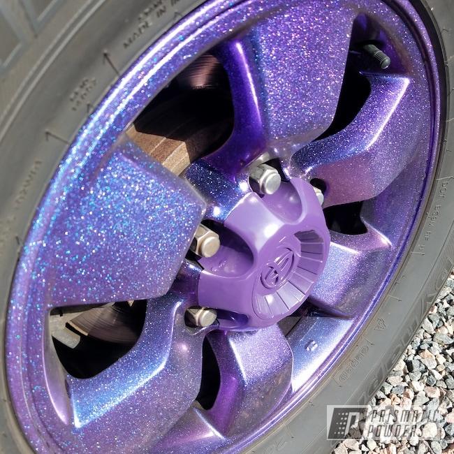 Powder Coating: Wheels,Automotive,rockin rims,Chameleon Violet PPB-5731,GLOSS BLACK USS-2603,Applied Plastic Coatings,Toyota,Metallic Powder Coating,Purple wheels,Powder Coat Wheels