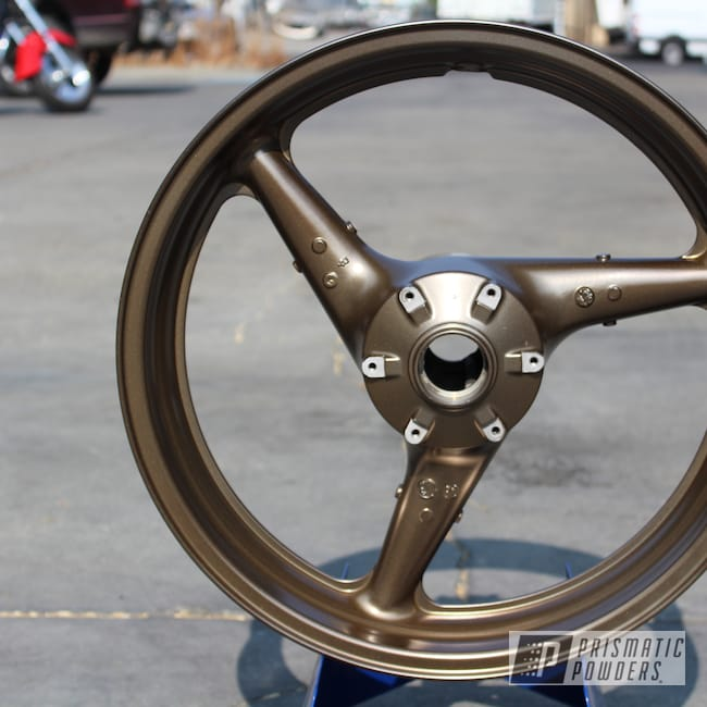 Powder Coating: Wheels,SUPER CHROME USS-4482,Motorcycle Rims,Motorcycle Parts,CBR 954RR,Honda,Honda CBR Wheels,Purepowder,Motorcycles,CBR,Melted Bronze PPB-8034