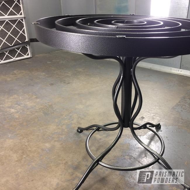 Powder Coating: Artwork,Art Deco,Patio Furniture,Wrought Iron,Vibrant Silver Vein PVB-5825,Table,Textured Finish,Metallic Powder Coating,Outdoor,Custom Designed,Textured,Furniture