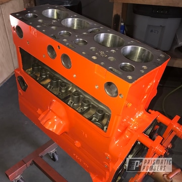 Powder Coated Jeep Engine Parts In Just Orange