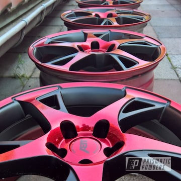 Two Tone Rims Powder Coated In A Black And Red Finish