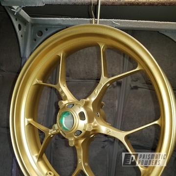 Honda Cbr Motorcycle Rims Powder Coated In Spanish Gold