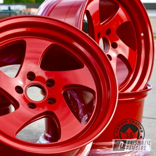 Powder Coating: Wheels,Automotive,Clear Vision PPS-2974,Illusion Red PMS-4515