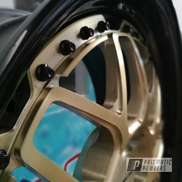 Powder Coated Lambo Advan Racing Wheels In Black And Gold