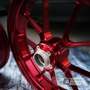 Kawasaki Stunt Zx6r Motorcycle Wheels In A Red Powder Coat Finish