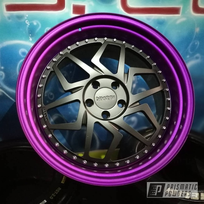 Powder Coating: Illusion Purple PSB-4629,Matt Black PSS-4455,Wheels,Automotive,Forged Wheels,Fan,Clear Vision PPS-2974,Stunt Rider,20inch,3 Pieces,Damnraw