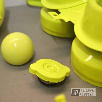 Powder Coated Auto Parts In Neon Yellow