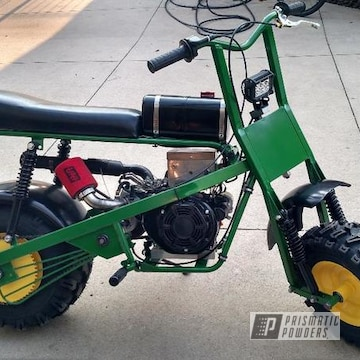 Powder Coated Mini Trail Dirt Bike In Green And Yellow